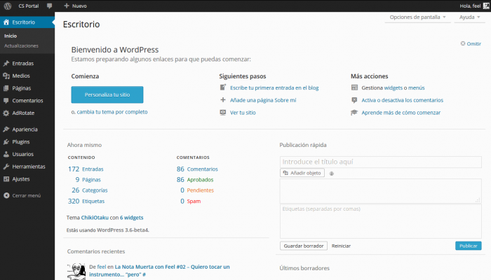 Wordpress Mp6 - dashboard